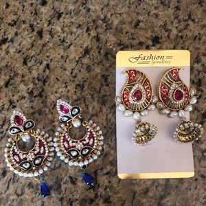 Jewelry - 2 pairs Indian Bollywood chandelier earrings